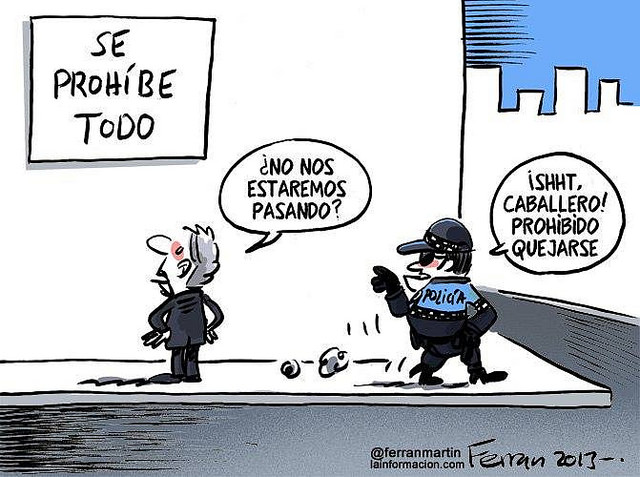 Cartoon by Ferran Martin @ferranmartin about the Spanish Citizen Safety Law for lainformacion.com 2013.