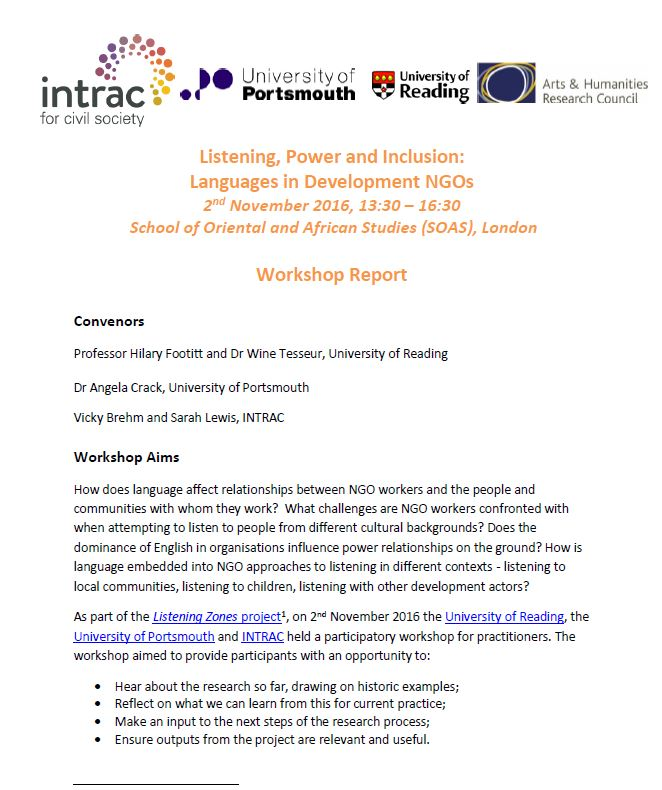 Listening zones workshop report cover
